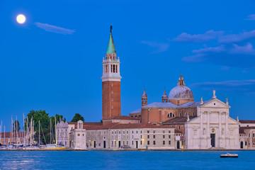 San Giorgio Maggiore Church with full moon. Venice, Italy