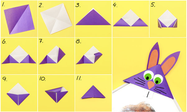 How to make Origami paper bookmark form of bunny for Easter greetings. Children's art project. DIY concept. Step by step photo instruction.