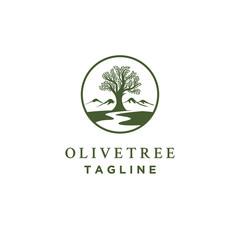 Fototapeta olive tree logo designs with creeks or rivers symbol obraz