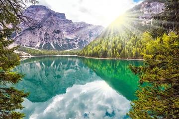 Beautiful lake in autumn day