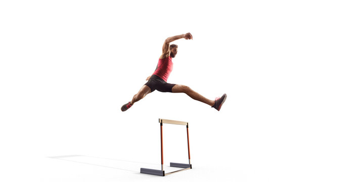 Isolated Male Track and field athlete jumps over the barrier on white background