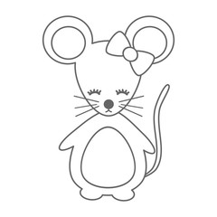 cute cartoon black and white mouse vector illustration for coloring art