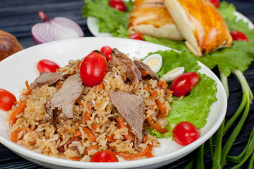 Pilaf. Meat dish of the peoples of Central and Central Asia, rice, meat and onions, suitable for the Nauryz or Navruz holidays, as well as during the Holy month of Ramadan and the holidays of Uraz Ait