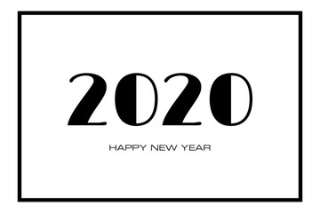 2020 Happy New Year greeting card. Black numbers 2020 and text on light background.