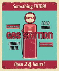 Gas station service vintage poster with retro gas pump and texts. Car service, auto parts and mechanic on duty, transport maintenance and repairing brochure. Garage station for automobiles. Vector