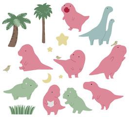 Set of cute dinosaur illustration