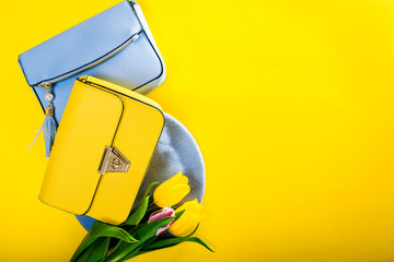 Spring female clothes and accessories with tulips. Stylish handbags with beret and flowers. Fashion