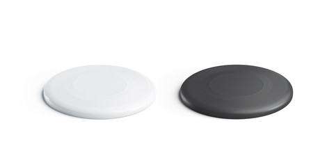 Blank black and white plastic frisbee mockup set, isolated, 3d rendering. Empty round frisby mock up, side view. Clear toy for outdoor leisure activity template.