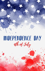 Usa Independence day watercolored background
