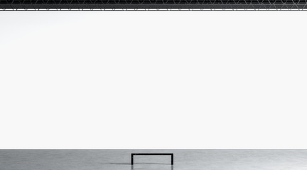 Blank white huge gallery wall with bench in museum mockup, 3d rendering. Empty giant expo display in hall mock up. Clear modern exposition in giant lobby template.
