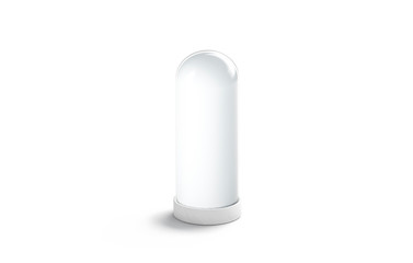 Blank white matt glass flask for flowers mockup, isolated, 3d rendering. Empty frosted dome mock up. Clear plexiglass pedestal for installation. Crystal opaque stand template.