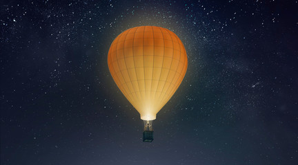 Poster Balloon Blank white balloon with hot air mockup, night sky background, 3d rendering. Empty adventure airship on star heaven mock up. Clear large transport for tourism or sport template.