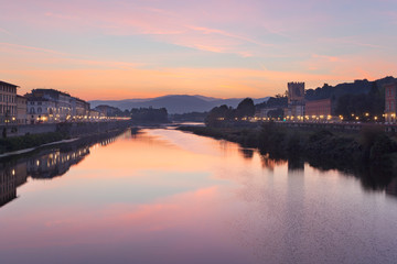 Dawn on Arno River from Ponte alle Grazie, Florence, Tuscany, Italy