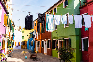 Hanging clothes on the streets of Burano, Venice, Italy.