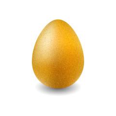Easter Egg. Gold glitter egg for greeting card, ad, promotion, poster, flyer, web-banner. Golden egg isolated on white background.