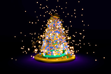 3D Illustration of a Christmas tree