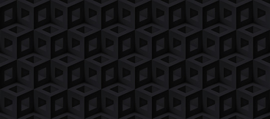 Realistic 3d vector cubes texture, geometric black seamless pattern, design dark background for you projects