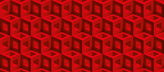 Realistic 3d vector cubes texture, geometric seamless pattern, design red background for you projects