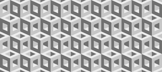 Realistic 3d vector cubes texture, geometric seamless pattern, design background for you projects