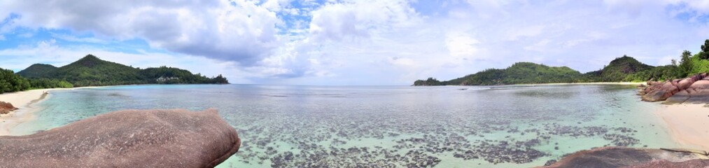 Stunning high resolution beach panorama taken on the paradise islands Seychelles