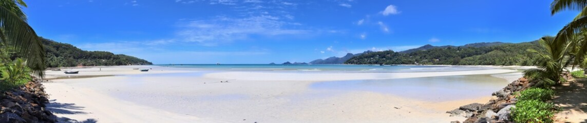 Stunning high resolution beach panorama taken on the paradise islands Seychelles