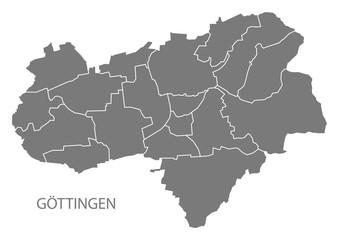 Goettingen city map with boroughs grey illustration silhouette shape