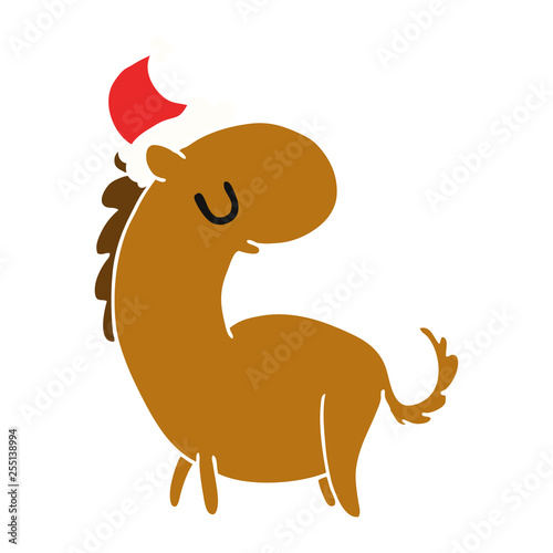 Christmas Horse Cartoon.Christmas Cartoon Of Kawaii Horse Stock Image And Royalty