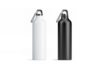 Blank black and white metal sport bottle mockup set, isolated, 3d rendering. Empty steel botle mock up, front view. Clear beverage for trip. Aluminum can with cap template.