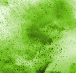 fresh green watercolor surface with splatters on white background