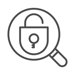 Magnifying glass with opened padlock icon and on white background