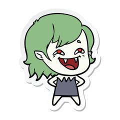 sticker of a cartoon laughing vampire girl