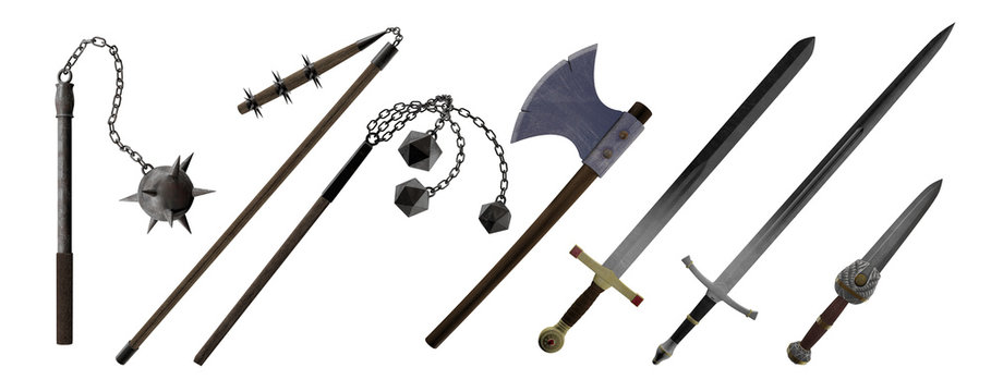 Medieval Hand Weapons, Ax, Sword, Dagger, Morning Star