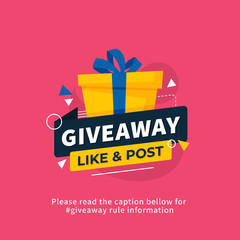 Giveaway poster template design for social media post or website banner. Gift box vector illustration with modern typography text style.