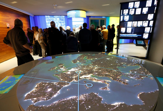 A map of Europe is displayed on a screen at the exhibition for visitors of the European Parliament in Strasbourg