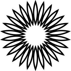 Flower flat shape ornament, chamomile. Vector and illustration.