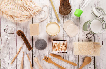 Zero waste supplies for personal hygiene. Sustainable lifestyle concept. Plastic free items made of natural materials.