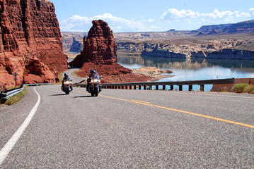 Deurstickers Route 66 motorcycle riding at lake powell