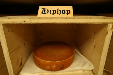 "A wheel of cheese is pictured during the experiment to ""insonify"" cheese with different type of music in Burgdorf"
