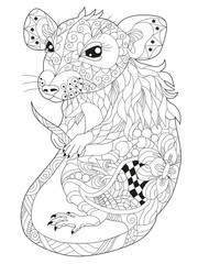 Zentangle stylized rat. Hand Drawn lace vector illustration