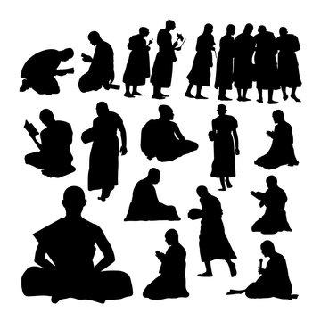 Buddhist monk gesture silhouettes