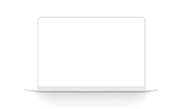 Clay laptop mockup isolated on white background. Vector illustration
