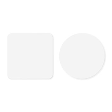 Two blank white round and square stickers mockup isolated on white background. Vector illustration