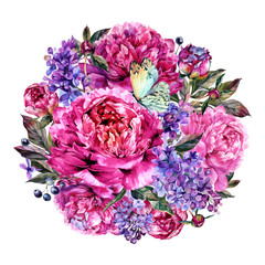 Watercolor Fuchsia Peonies and Lilac Round Bouquet