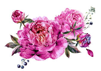 Fuchsia Peonies Watercolor Decoration