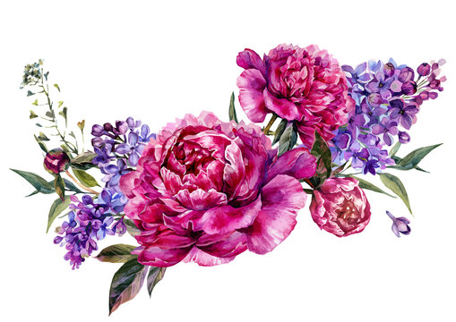 Fuchsia Peonies and Lilac Watercolor Decoration