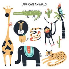 Set of diferent cartoon African animals. Cute handdrawn kids clip art collection. Vector illustration