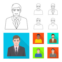 Vector design of hairstyle and profession  logo. Collection of hairstyle and character  stock symbol for web.