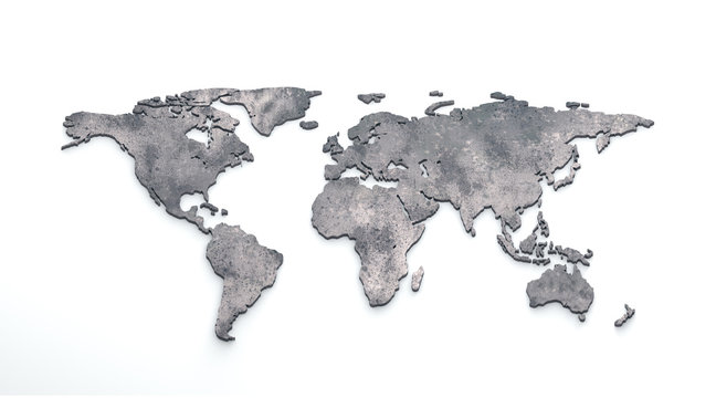 3d world map metal on white background
