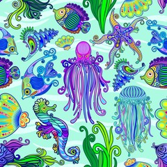 Foto auf Acrylglas Ziehen Sea Life Tattoo Style Cute Animals Seamless Pattern Vector Textile Design