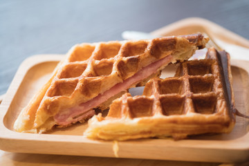 Grilled waffles with bacon